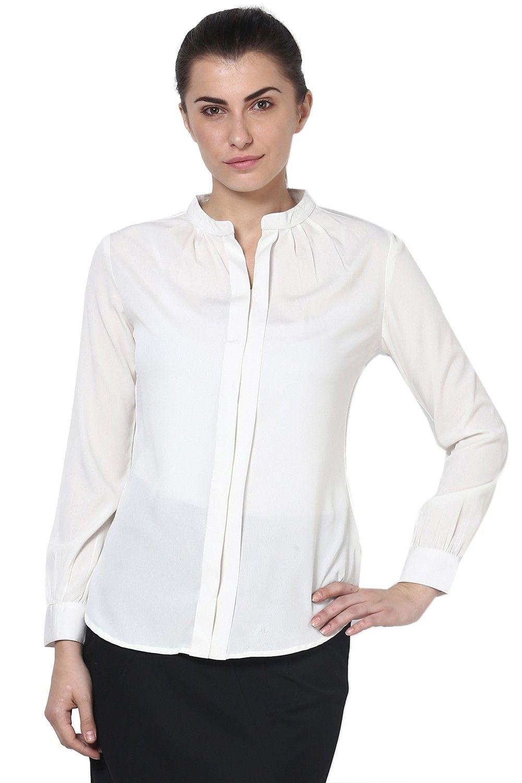 Mable womens offwhite full sleeve mandarin collar