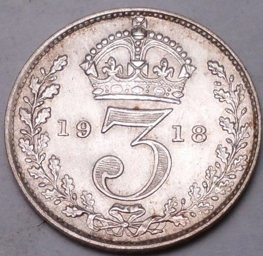 GREAT BRITAIN 1918 3 PENCE...FOREIGN COIN