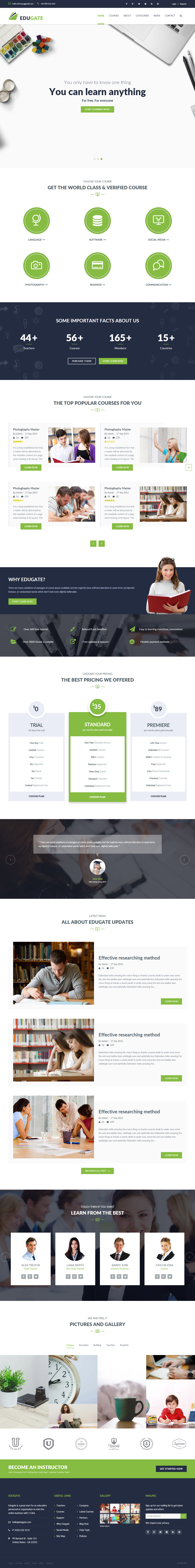 Parallax Website Template Edugate Is Premium Full Responsive Retina #education #html5