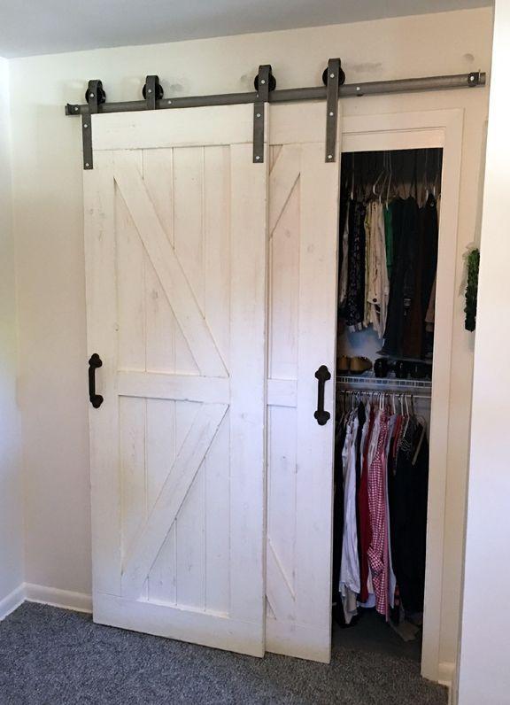 Double Door Single Track Bypass   Sliding Barn Door Hardware Kit    Use 2 doors  not included  on 1