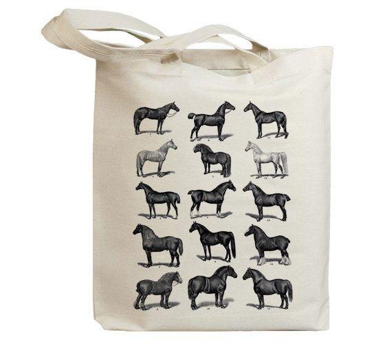 Retro Horses Vintage Eco Friendly Canvas Tote Bag by idiopix, $13.95