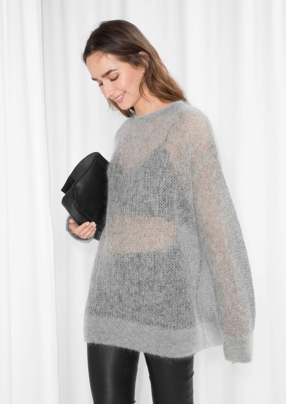 & Other Stories image 1 of Fuzzy Mohair Blend Knit in Grey | knit ...