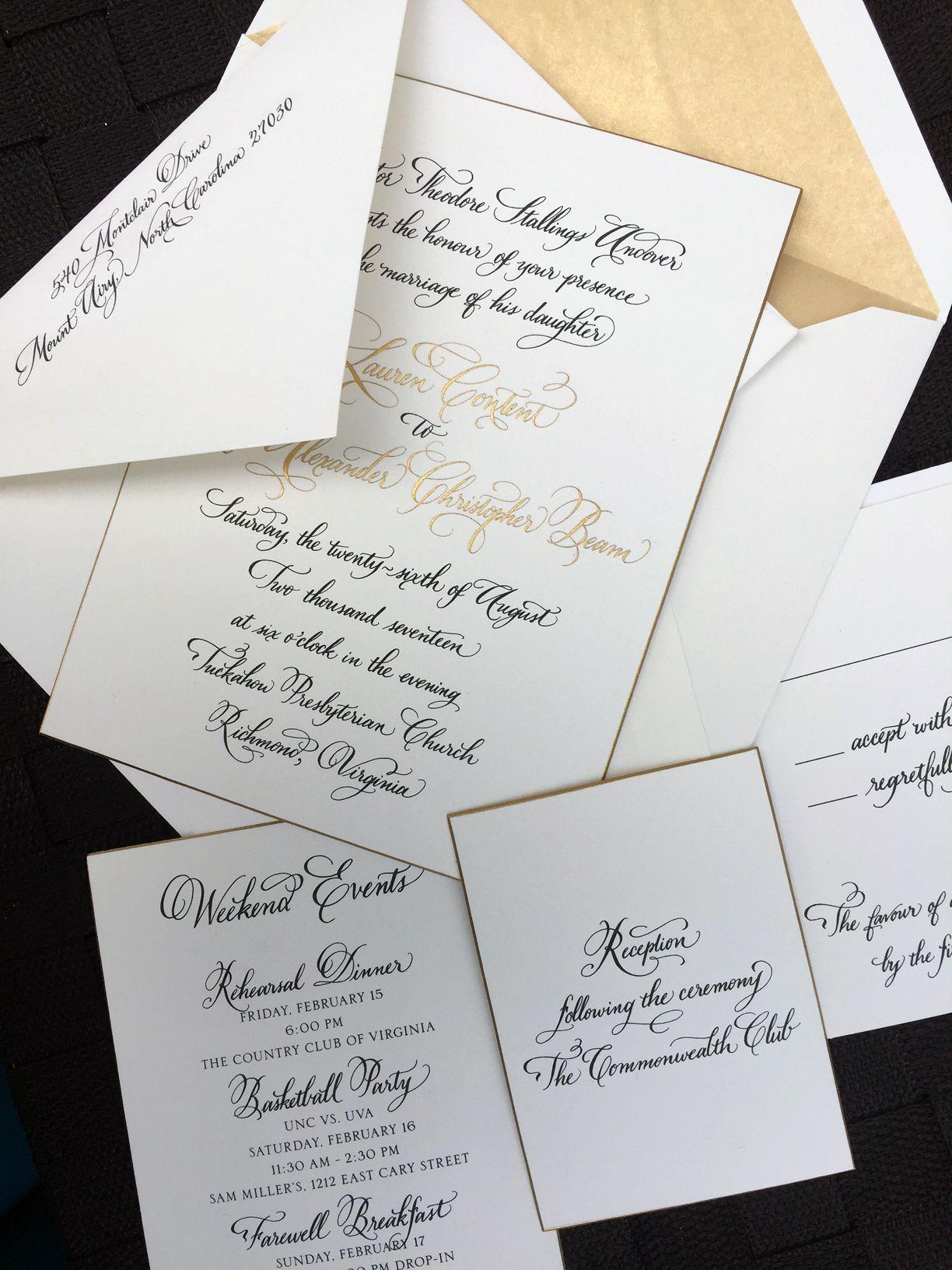 Hand calligraphy wedding invitation from Jen Maton of If