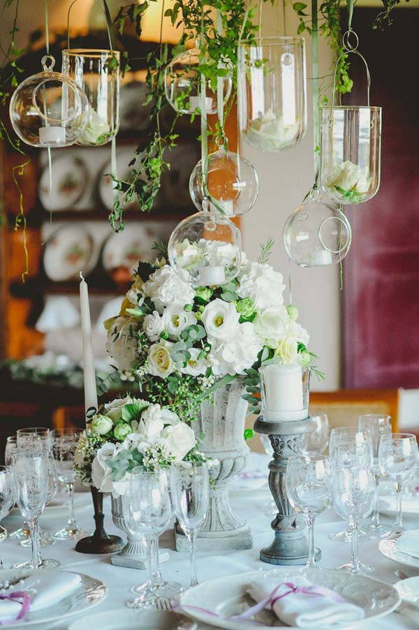Grey Urn Centrepieces With Hanging Gl Vases Candle Holders