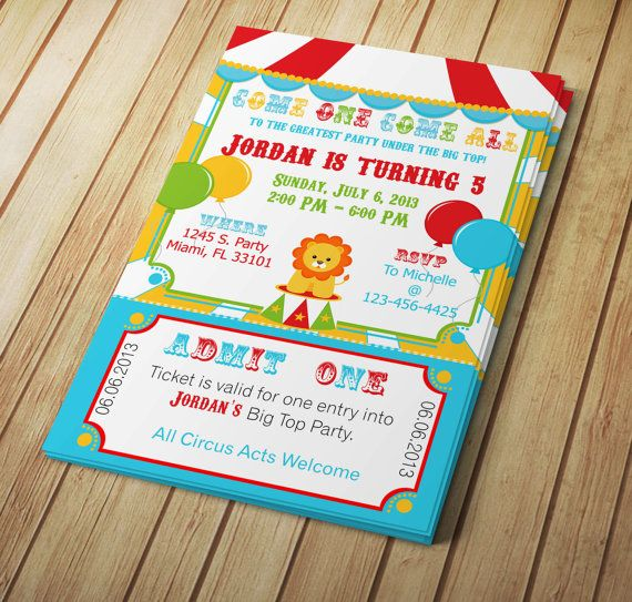 Big Top Circus Printable Invitation Design - Editable Template - microsoft word templates invitations
