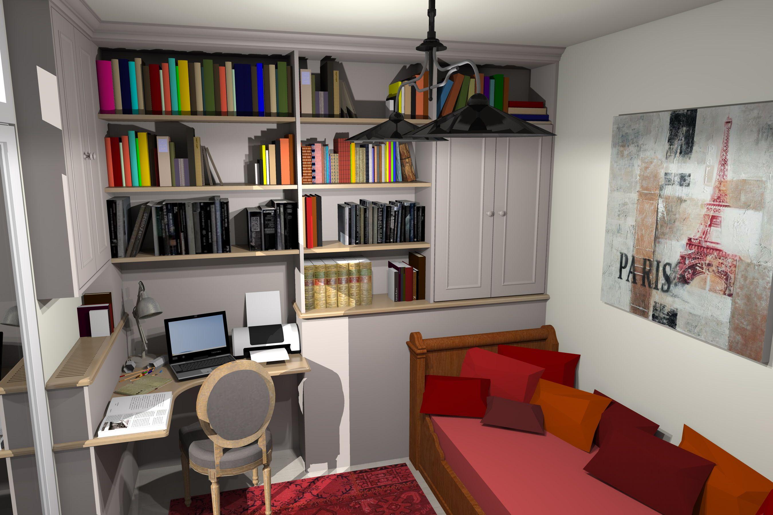 Un Bureau Une Bibliothèque Et Une Chambre Damis Dans 10m² Bureau
