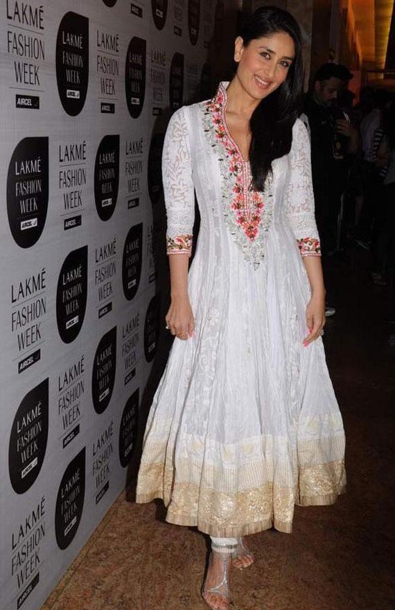 86427ff223f32 Kareena Kapoor in White Anarkali Suit Photos – Recent Look in White  Churidar Dress