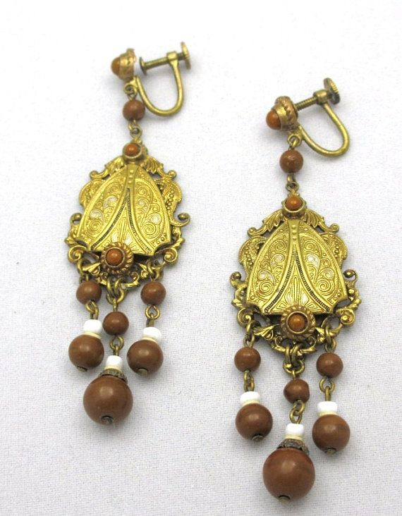 Marked Czech 1920s Pendant Screwbacks by PastAccoutrementals