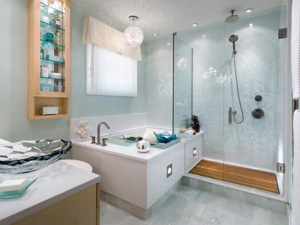 Wandfarbe Badezimmer Hellblau Helles Holz Kombination Home