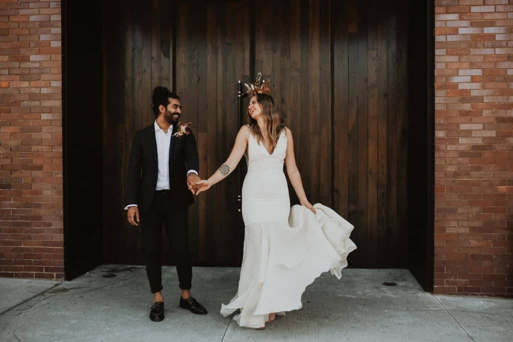 Vj Karina The Crossroads Hotel Kansas City Mo In 2020 Wedding Exits Wedding Dresses Pink Boho