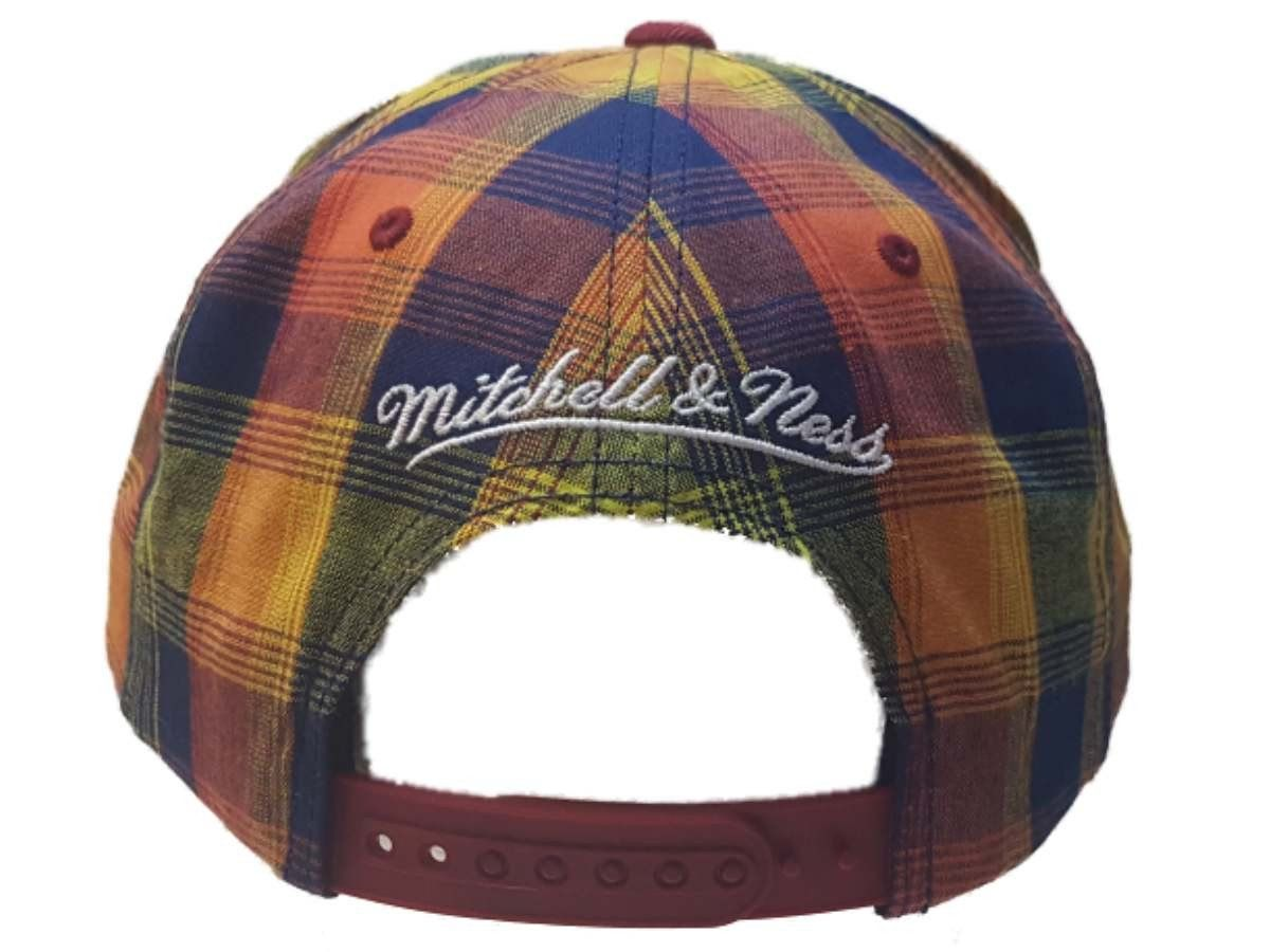 f532bcde450 Cleveland Cavaliers Mitchell   Ness Structured Plaid Flat Bill ...