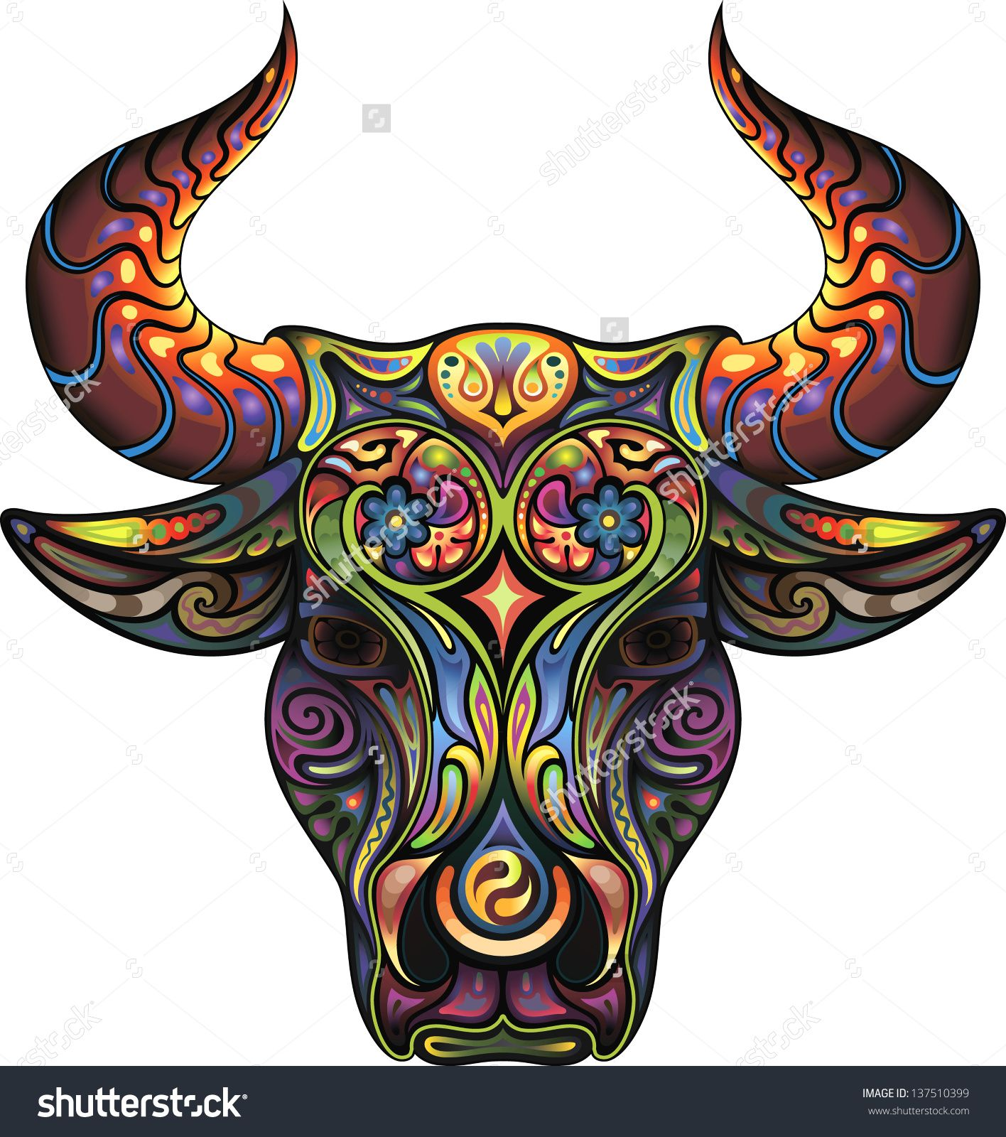Pics photos taurus tattoos bull tattoo art - Silhouette Of A Head Of A Bull Collected From Plant Ornament Variegated Colors By Cupoftea Via Shutterstock Beautiful Taurus Pic