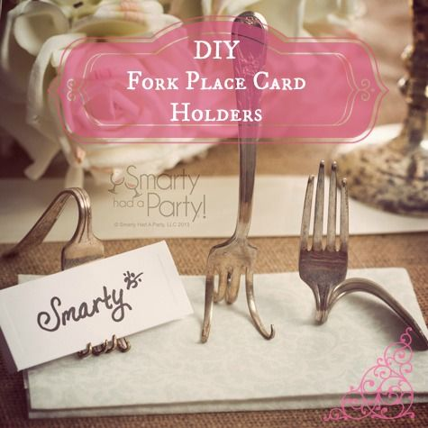 8 Twisted Fork Metal Place Card Holders Bridal Shower Wedding Favors