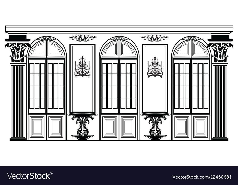 Vector architectural facade wire frame blueprint drawing of classic vector architectural facade wire frame blueprint drawing of classic luxury building vector architectural template malvernweather Gallery