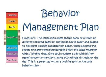 Positive Behavior Management Plan  Positive Behavior Behavior