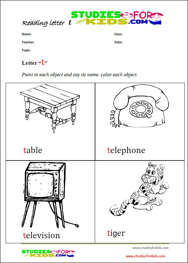 letter T coloring reading printable worksheets for kids PDF | ngole ...