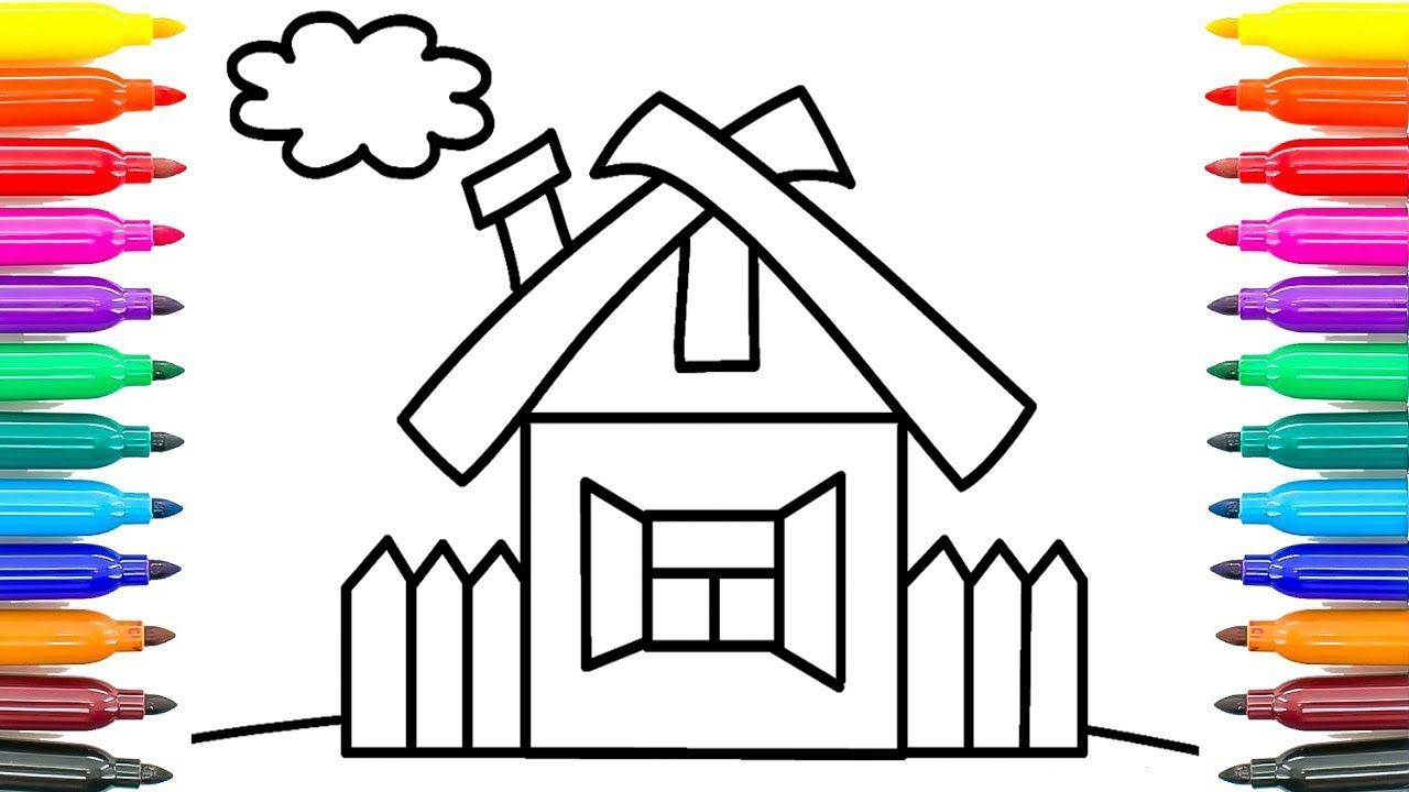 how to draw house the garden and helicopter learning coloring