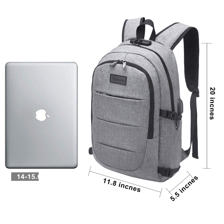 Laptop Backpack with USB Charging Port,DTBG 15 Inch Stylish Water Resistant Laptop Rucksack College Shoulder Back Pack Business Travel Bag Knapsack for Up to 15.6 Inch Laptop Notebook Computer,Black