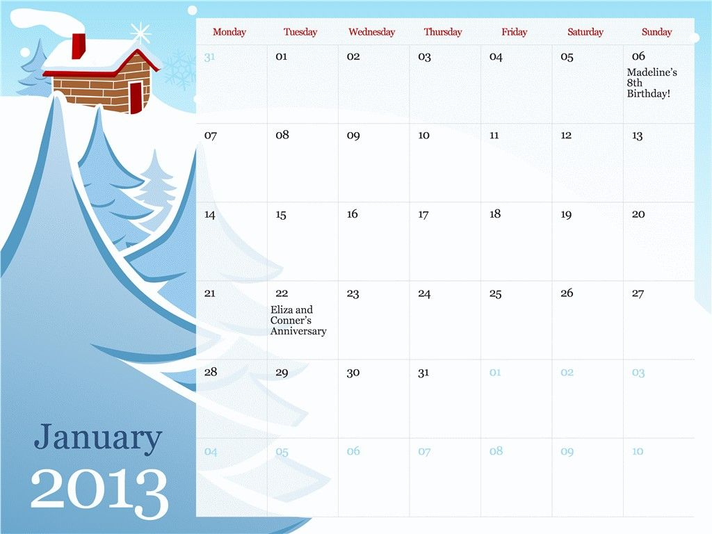 Microsoft Excel Yearly Calendar Template 2013 Monthly Calendar