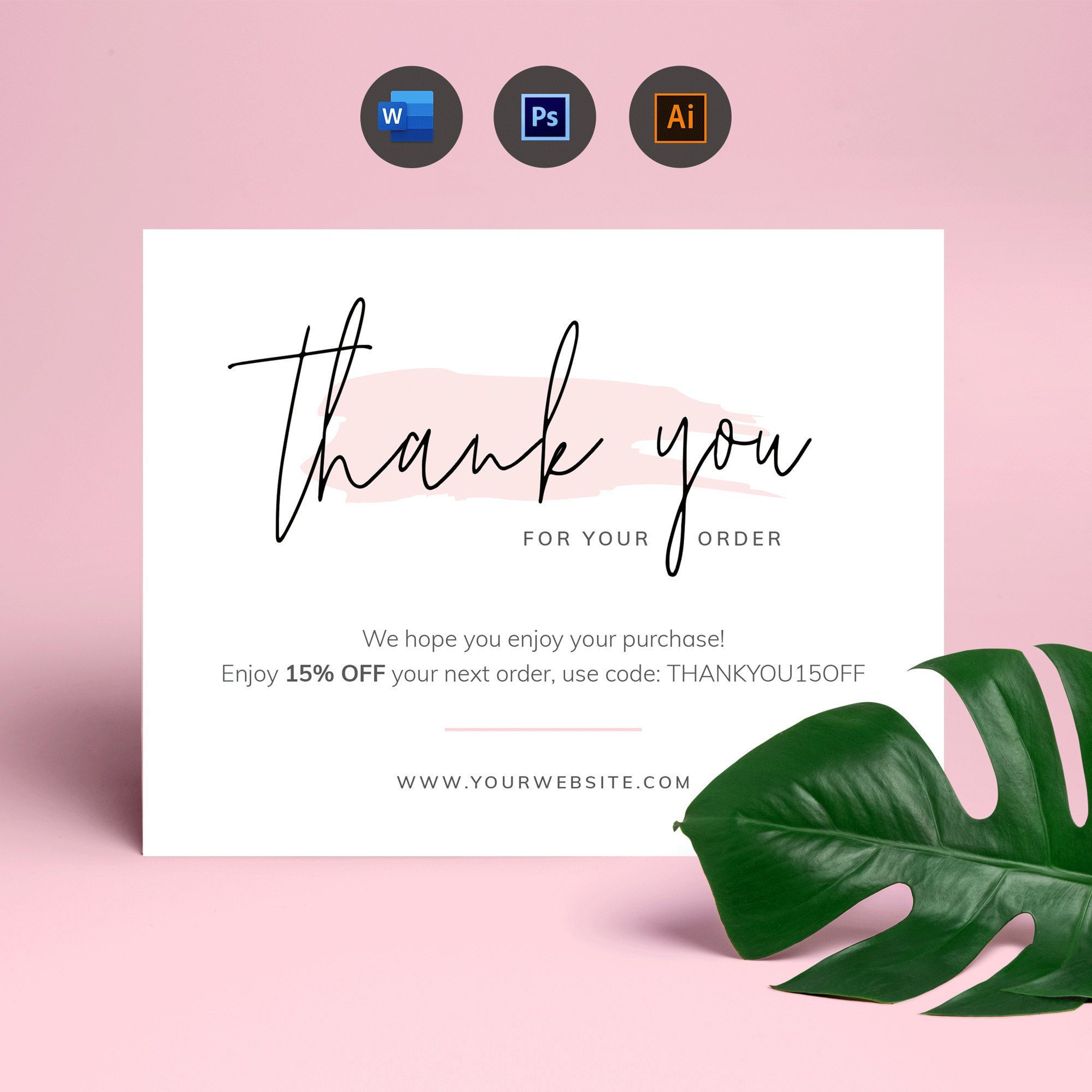 Business Thank You Card Template Thank You For Your Order Parcel Thank You Package Inse Business Thank You Business Thank You Cards Thank You Card Template
