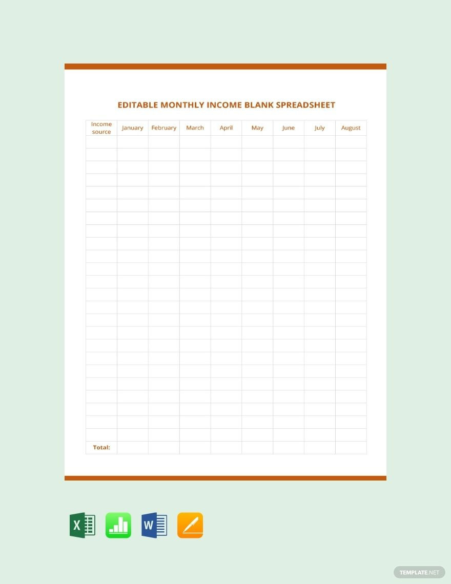 Free Editable Monthly Income Blank Spreadsheet Template Word Excel Apple Pages Apple Numbers Spreadsheet Template Spreadsheet Happy Mother Day Quotes