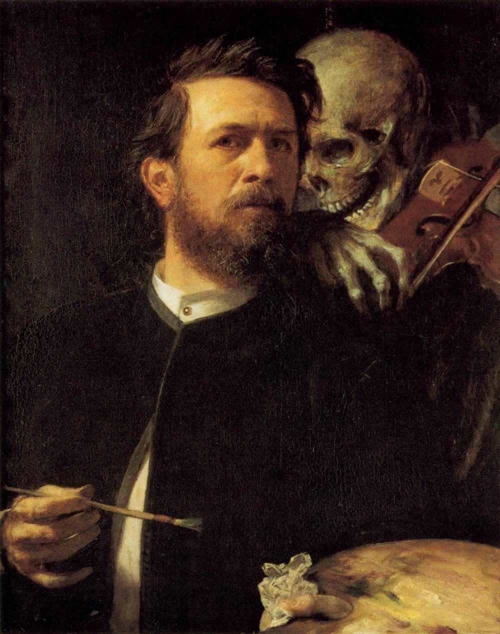 Arnold Böcklin,  Self-Portrait with Death as a Fiddler,  1871-74  Oil on canvas, 75 x 61 cm,  Nationalgalerie, Berlin