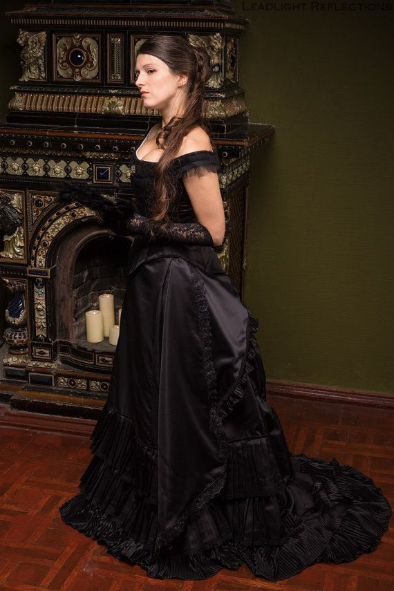 Gothic Victorian Dress Made Of Plain And Plisse Atlas Could Be Worn Not Only To 1870s 1880s Meetings Other Events