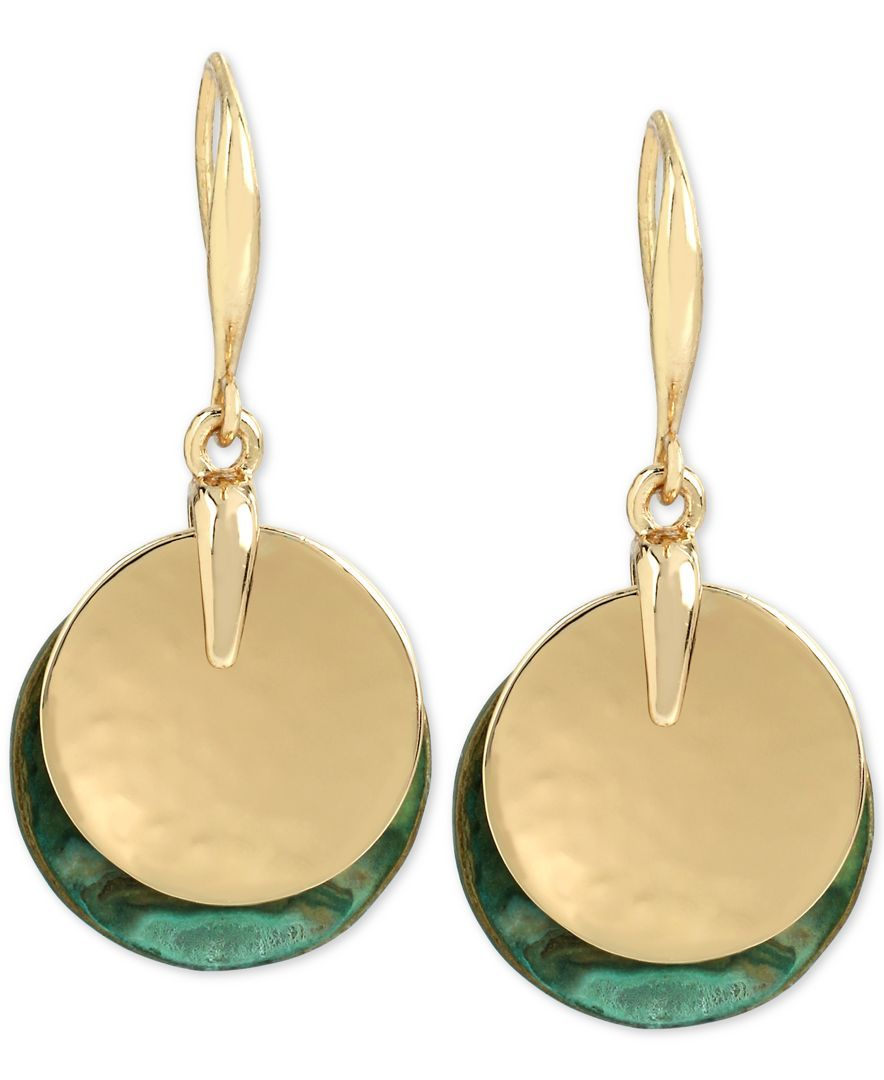Robert Lee Morris Soho Gold-Tone Layered Disc Drop Earrings