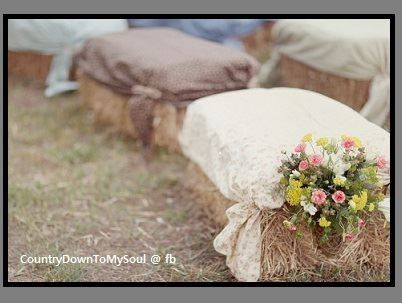 Country wedding seating...LOVE it!! Just different flowers and fabric!!