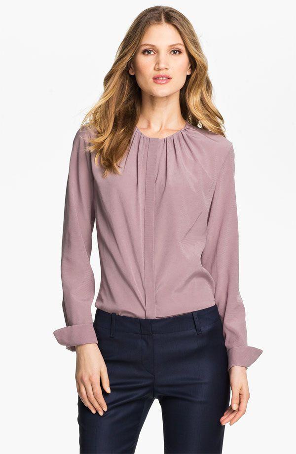 f9b9c9ef53910 Doña Letizia wore a Hugo Boss Fuchsia-Silk Blouse (here shown in lavender)