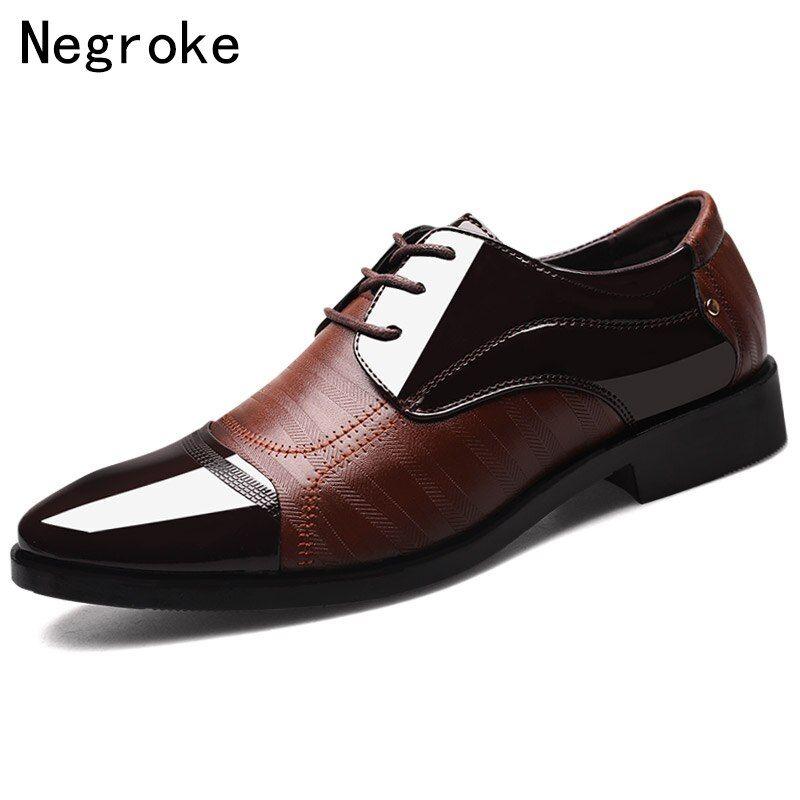 Plus Size 48 Pointed Toe Men's Basic Dress Shoes Black