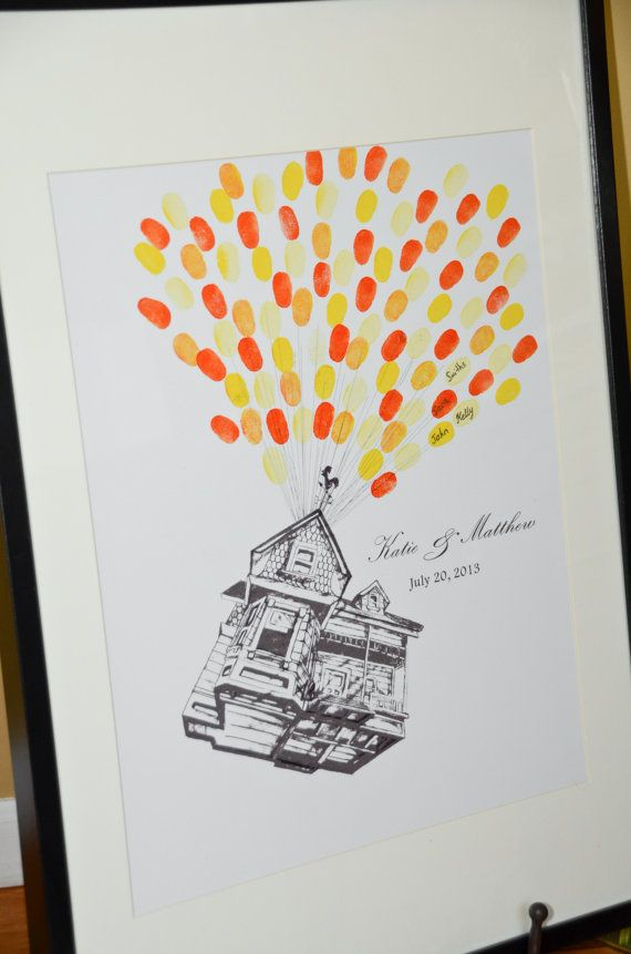 Wedding Guestbook Alternative Flying House with Thumbprint