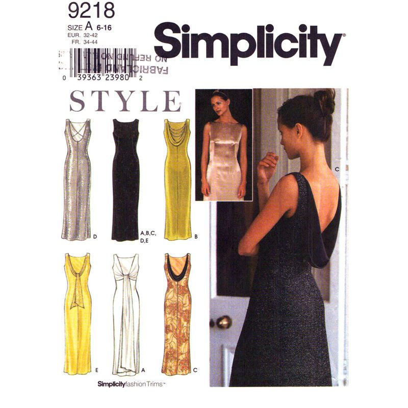 Low Back Evening Gown Pattern Simplicity 9218 Draped Back Dress ...