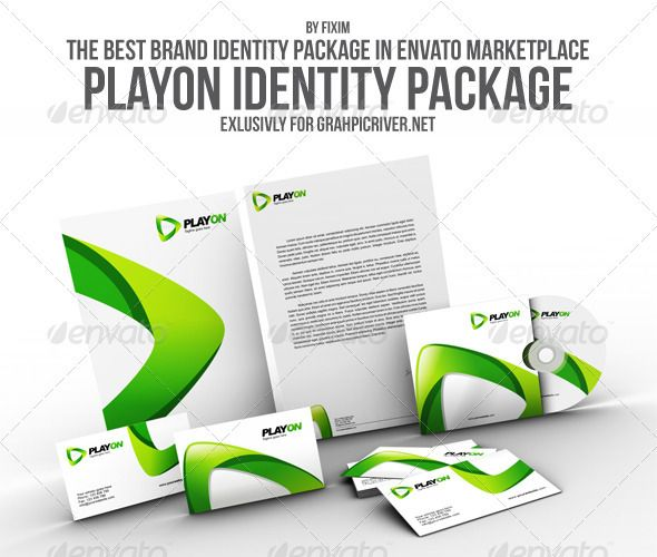 PlayOn Identity Package Print templates, Logo images and - compact cd envelope template