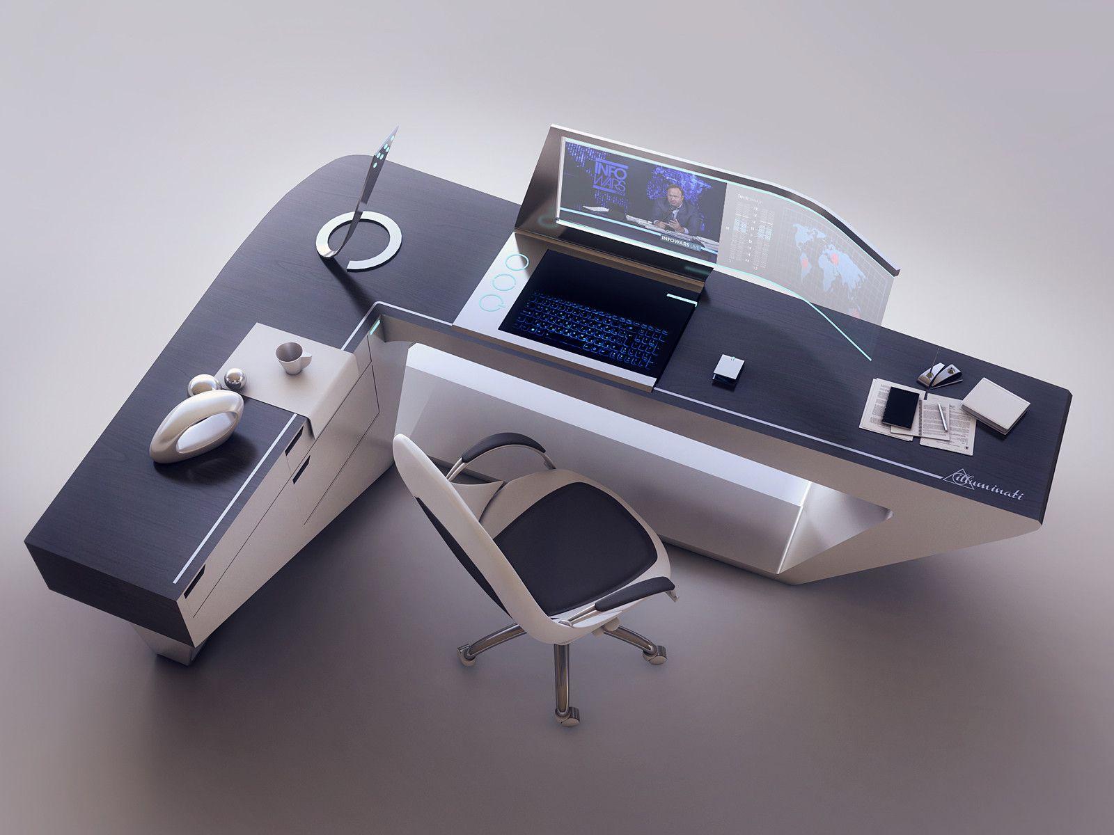 Designer Computer Desk Artstation Modern Desk Design Encho Enchev Sci Fi 2