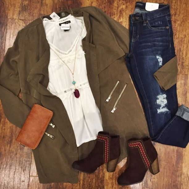 We've been seeing this jacket all over Pinterest,  and now we have so many outfit ideas for it!  Jacket $85 // Item 1015BM2 Booties $46 // Item 1015BM3