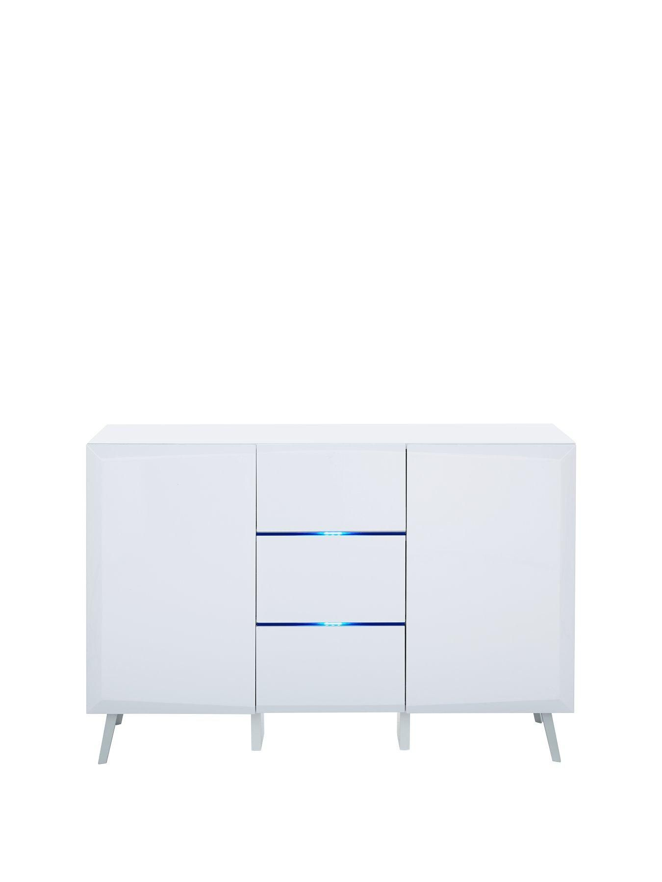 Xander 2 Door 3 Drawer Large Sideboard With Led Lights In White Gloss Let
