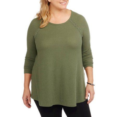 Plus Size Faded Glory Women's Plus Thermal Tunic with Back Lace Detail, Size: 3XL, Blue