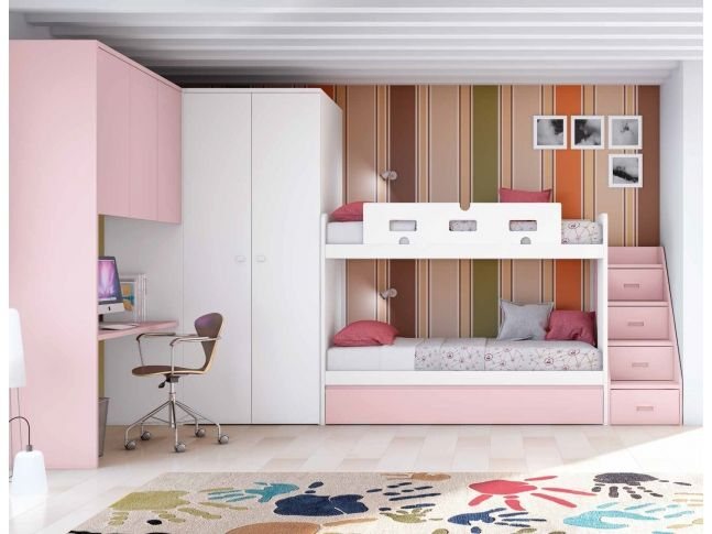 chambre avec lit superpos fille et lit gigogne personnalisable f262 glicerio chambre enfant. Black Bedroom Furniture Sets. Home Design Ideas