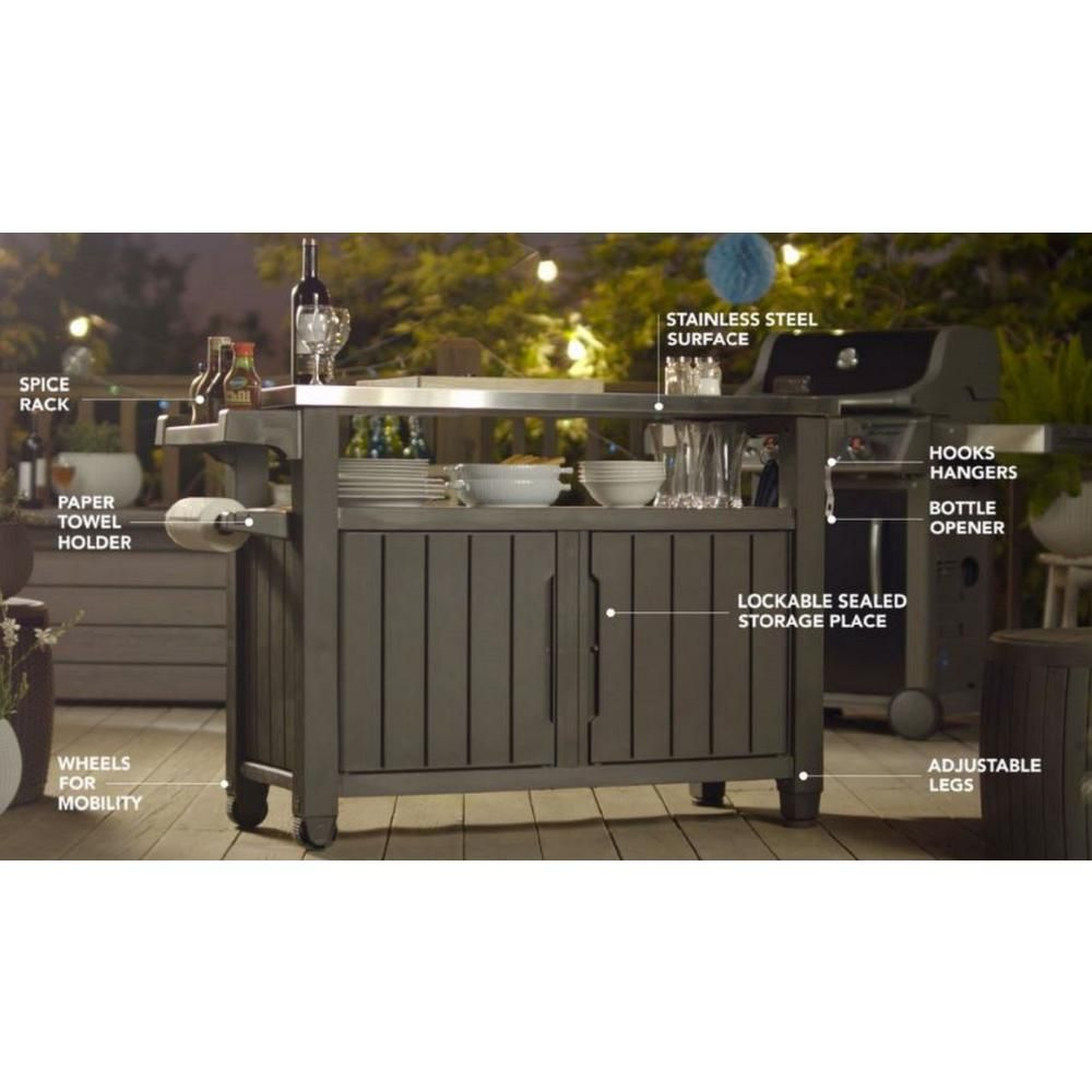 Keter Unity Xl 78 Gal Grill Serving Prep Station Cart With Patio Storage 229369 The Home Depot In 2020 Patio Storage Metal Grill Outdoor Bbq