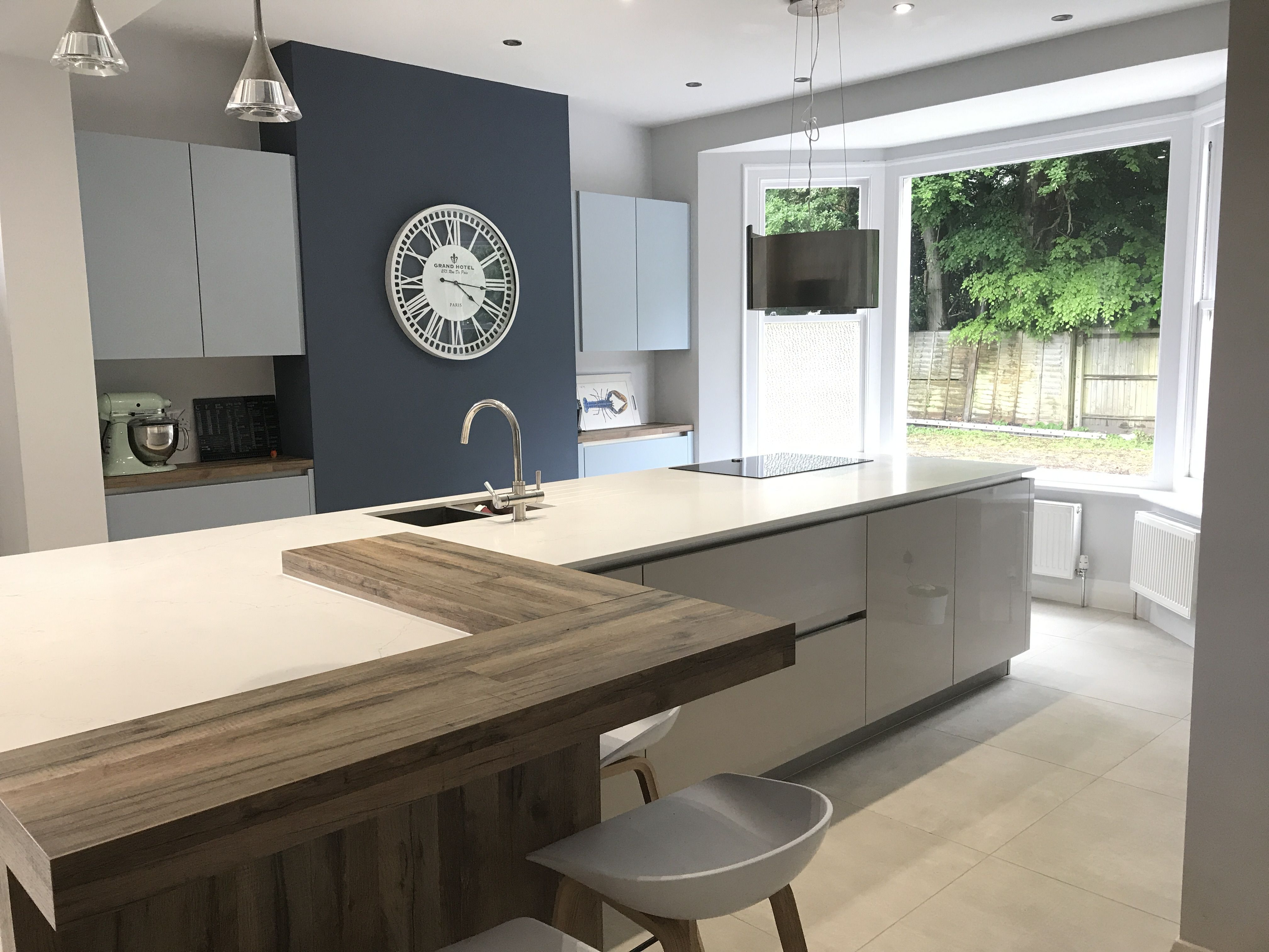 Blue And Taupe Contemporary Kitchen Designed By Smb Interior