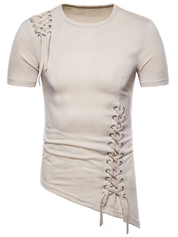 Asymmetric Slant Hem Criss Cross Tshirt  BLANCHED ALMOND M is part of Fashion dresses casual -