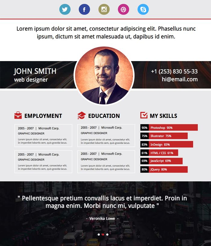 A new beautiful Adobe Muse resume template is ready for MuseFree - resume website template