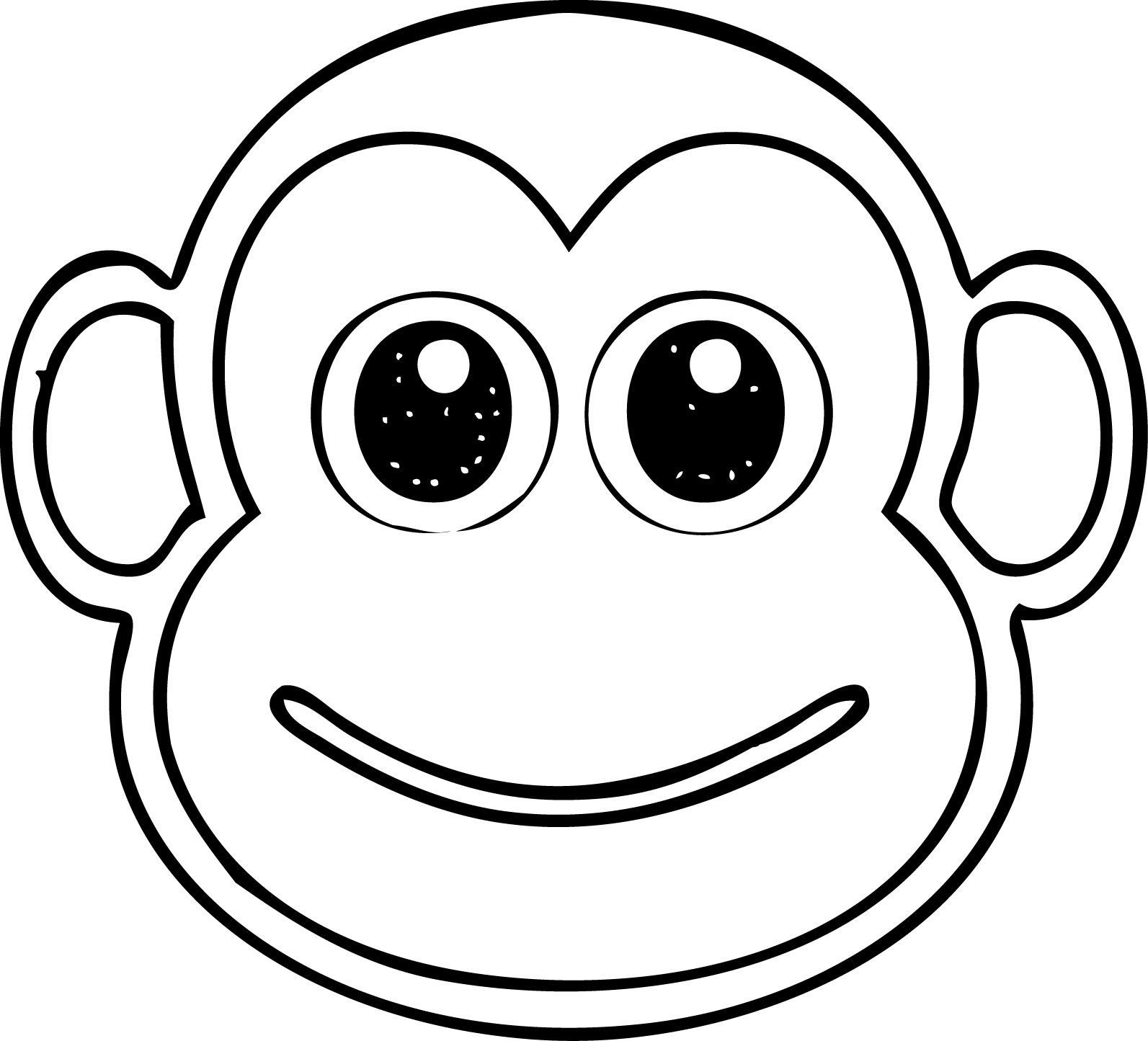Cool Monkey Head Coloring Page Cartoon Monkey Face Illustration