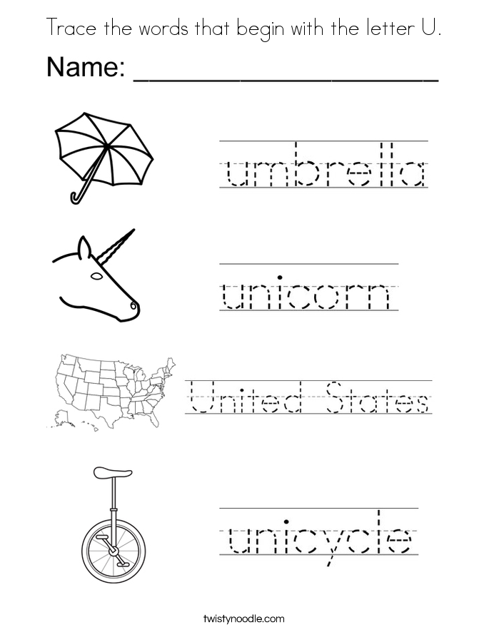 trace the words that begin with the letter u coloring page