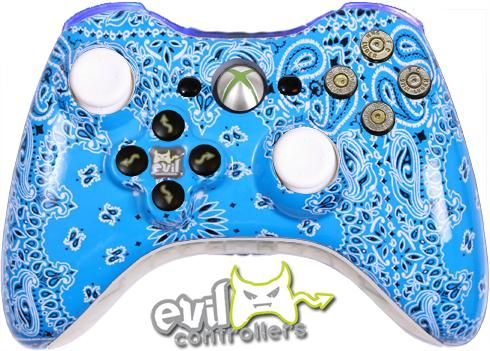 Blue Bandana With Light Up Blue Bumpers Custom Xbox Ps4 Or Xbox One Xbox One