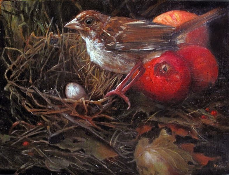 Fallen Nest, Sparrow & Crabapples - Oil on Wood by Margot King