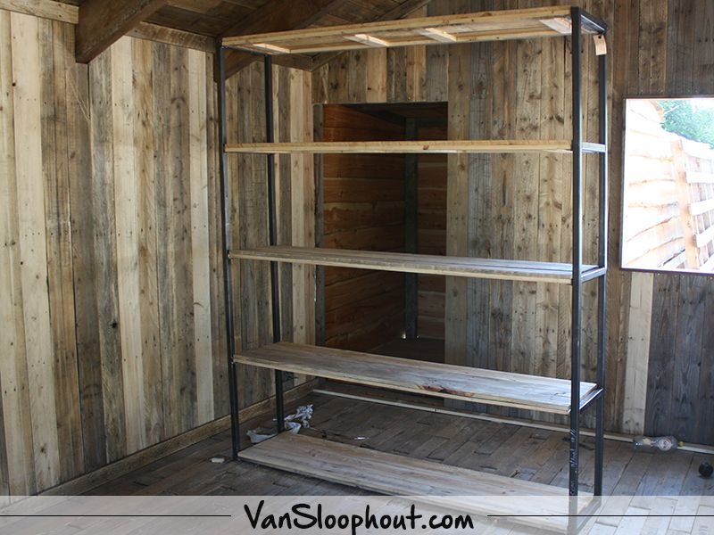 Stalen Kast Woonkamer.Stalen Kast Met Sloophout Sloophout Reclaimed Wood