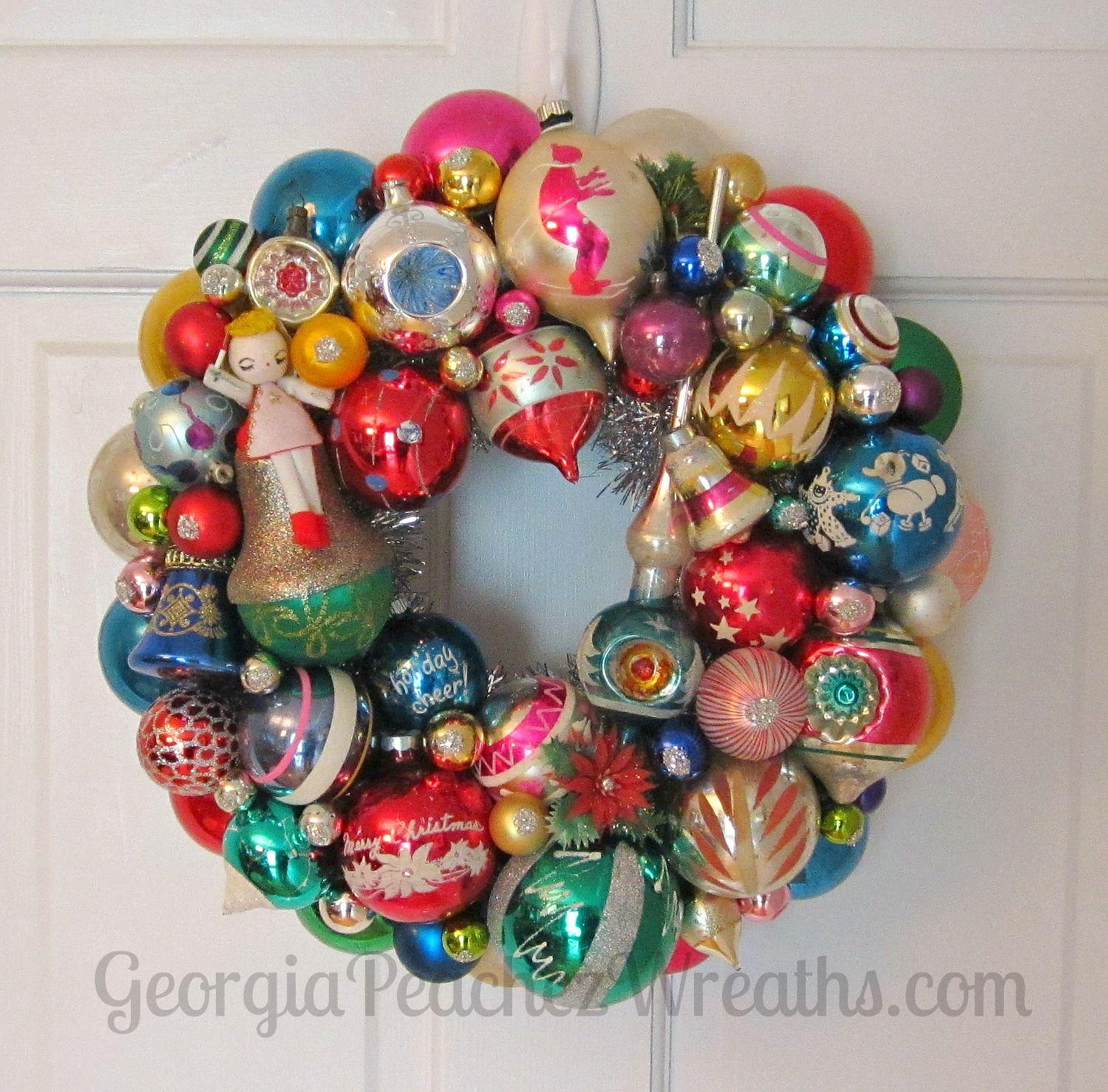 Georgiapeachezwreaths Com Vintage Christmas Ornaments Vintage Ornament Wreath Vintage Christmas Crafts