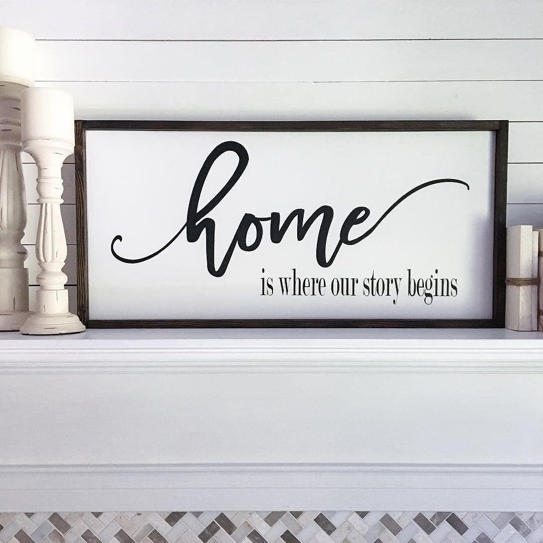 Wooden Signs Home Decor Alluring Home Is Where Our Story Beginswood Signmantel Decorhome Decor Decorating Inspiration